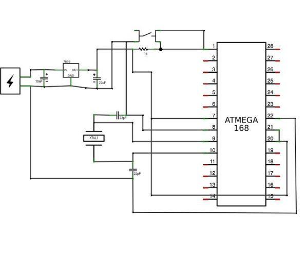 Perfboard Hackduino ($8 Arduino-compatible circuit) Schematic