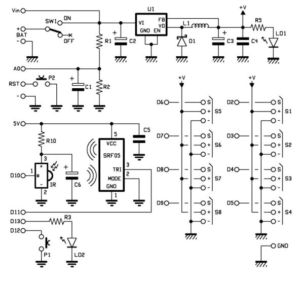 Robot shield for Arduino. Part 1 - Hardware and Schematic Shematic