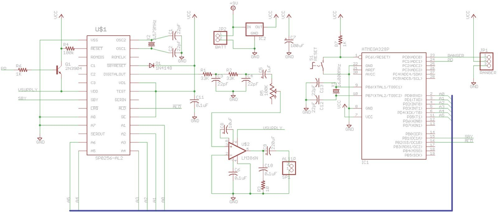 SP0256-AL2 Speech With Arduino Schematic