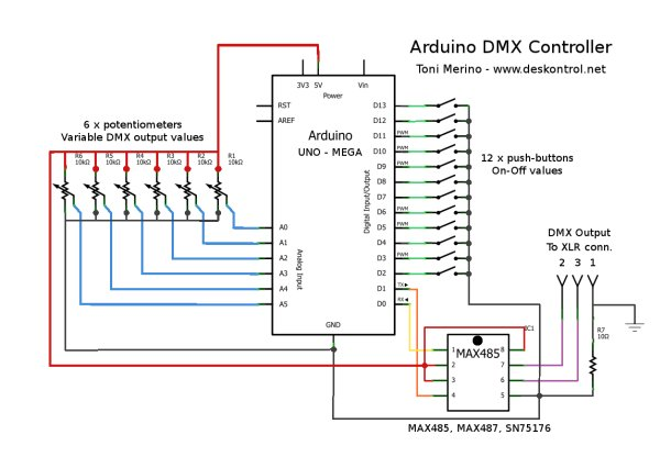 Small Arduino DMX controller Use Arduino for Projects