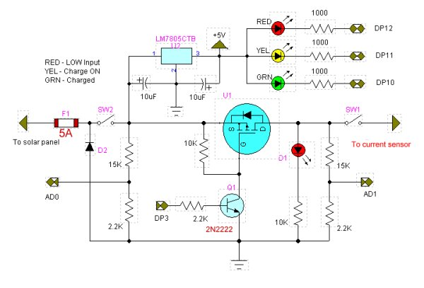 Solar Panel Battery Charge Controller Using Arduino Schematic