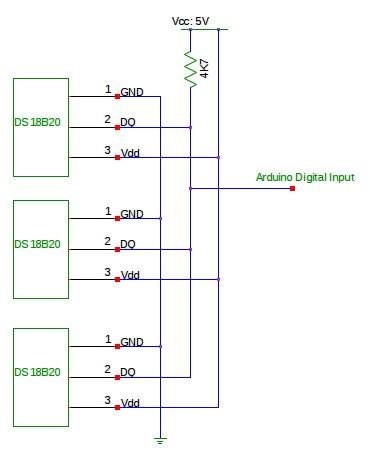 Temperature Sensing using DS18B20 Digital Sensors Schematic