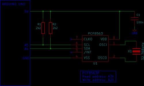 Tutorial 16 Arduino Clock Schematic
