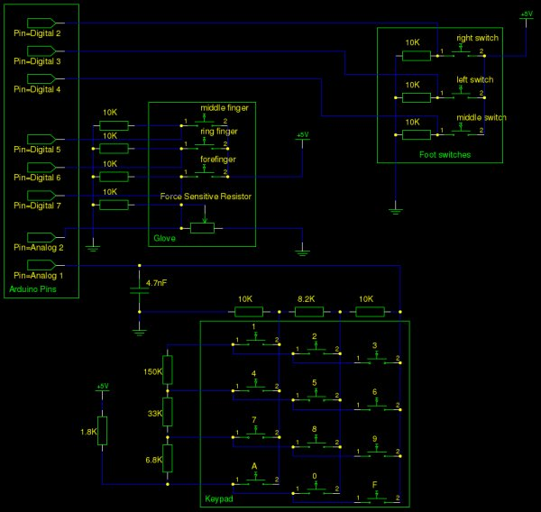 Using Arduino and Pd for musical live performance Schematic
