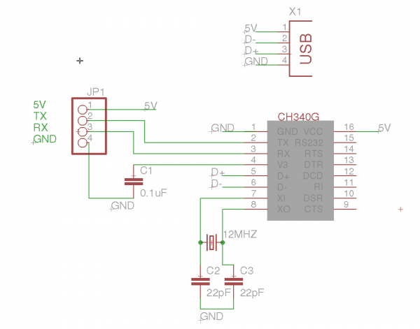 CH340G – alternative USB to serial IC