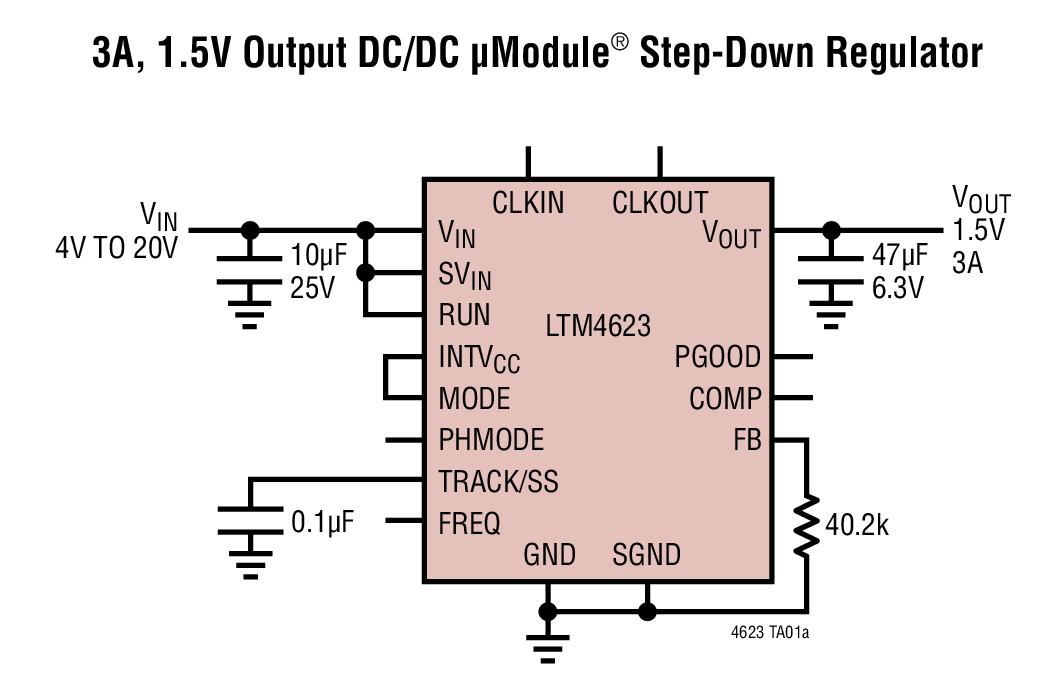 LTM4623 - Ultrathin 20VIN, 3A Step-Down DC/DC μModule (Power Module) Regulator