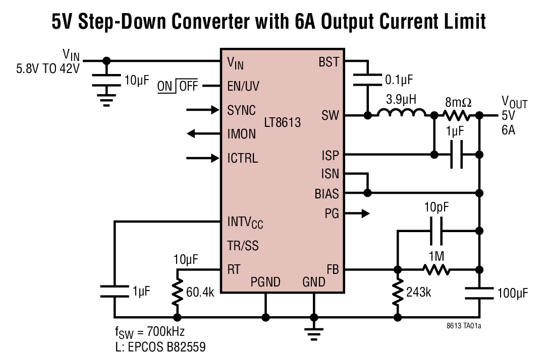 LT8613 - 42V, 6A Synchronous Step-Down Regulator with Current Sense and 3μA Quiescent Current