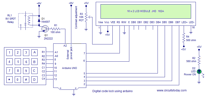 Digital Code Lock using Arduino with LCD Display and User Defined Password