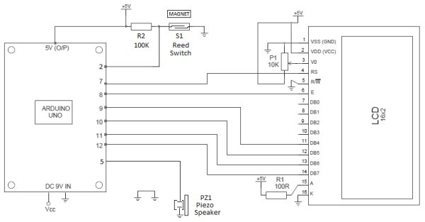 Arduino Security Alarm with Reed Switch schematic