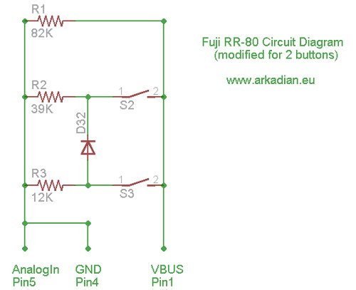 Arduino Project Intervalometer for Fuji cameras Schematic