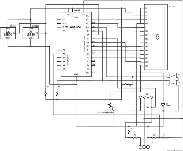 Arduino car LCD display Schematic