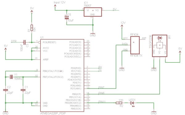 Converting infrared to RF signals with Arduino Schematic