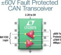 LTC2875 – ±60V Fault Protected 3.3V or 5V 25kV ESD High Speed CAN Transceiver