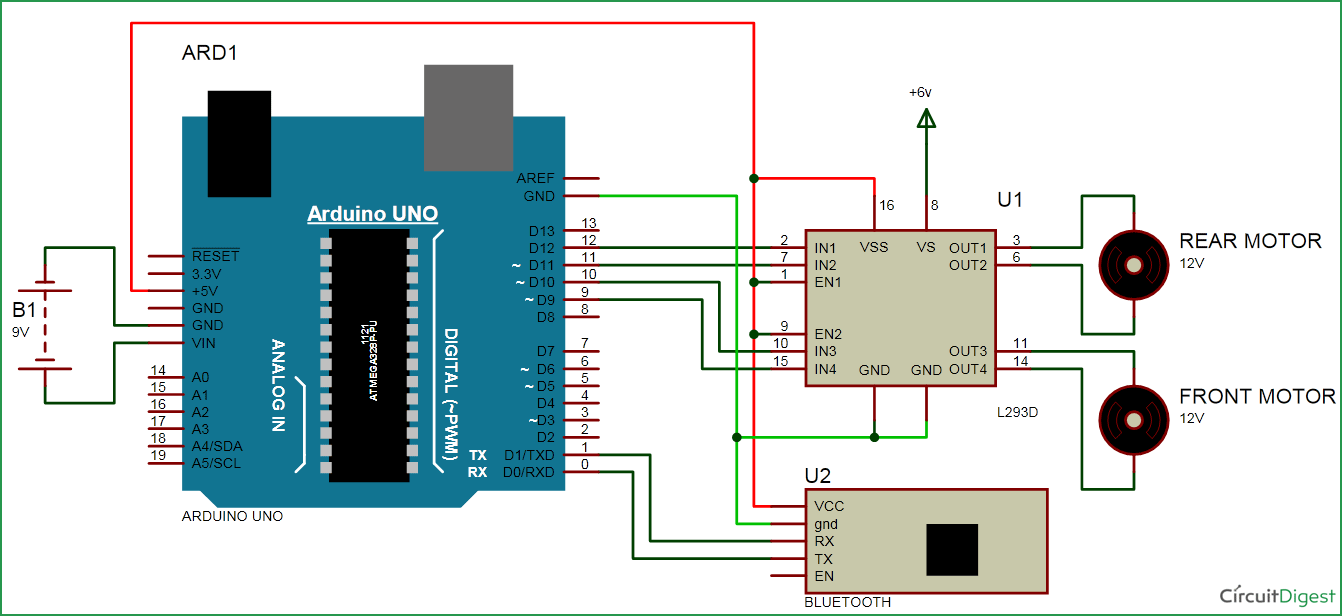 Bluetooth-controlled-car-circuit