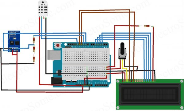IoT-Data-Logger-using-Arduino-and-ESP8266-Circuit-Diagram