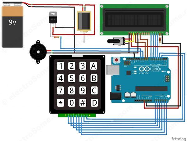 circuit- Digital Door Lock using Arduino