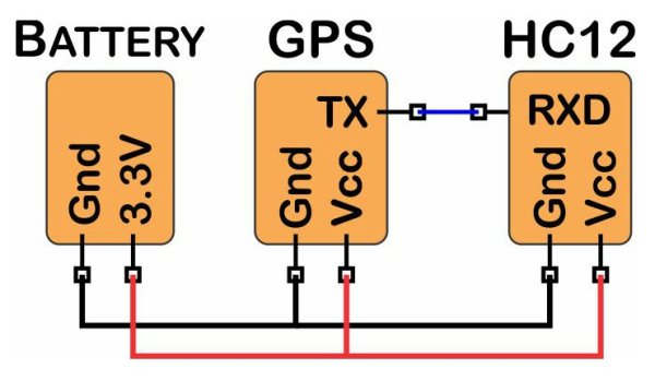 GPS Transmitter with the HC-12 Transceiver - diagram