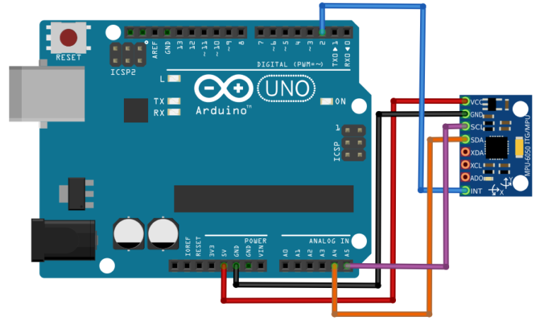 Interfacing the Arduino MPU 6050 - circuit