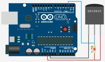 Schematic One Wire Digital Temperature. DS18B20 + Arduino