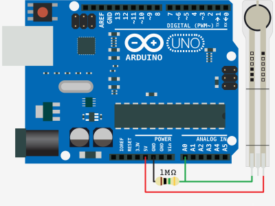 Schematic Sensing Weight With A Flexiforce + Arduino