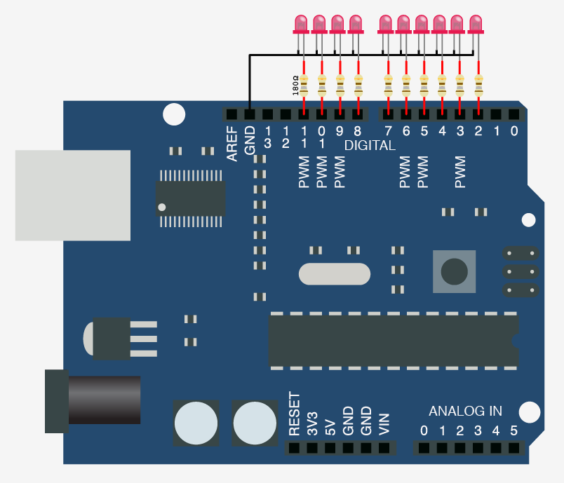 Schematic Turn on a light, or 10. Arduino control over serial