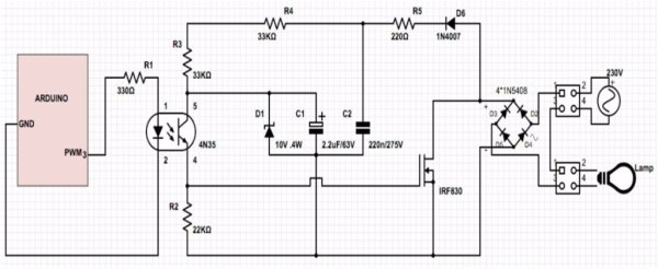 schematic - How to Make an Arduino Powered Lamp Dimmer