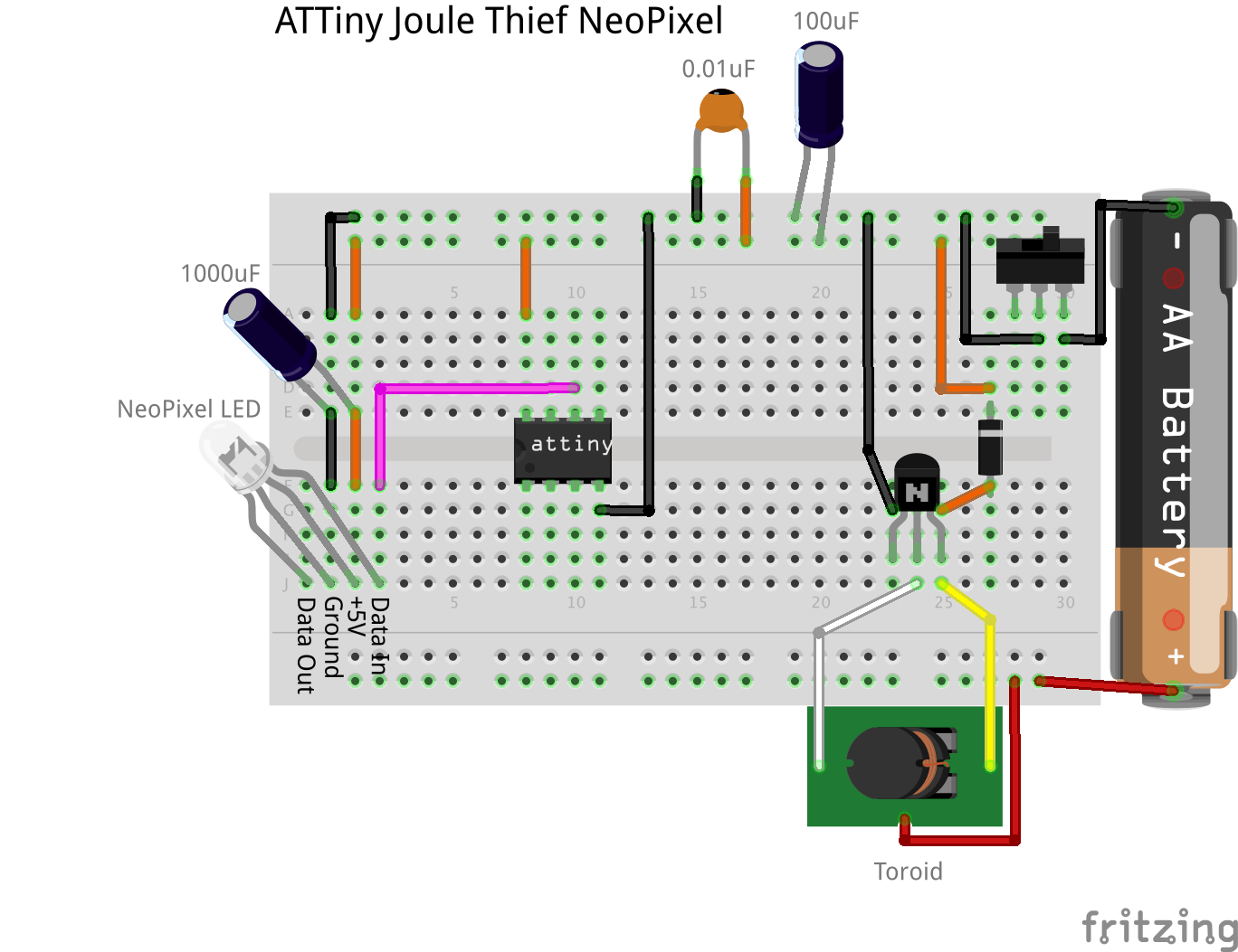 Schematic ATTiny Joule Thief NeoPixel - Use Arduino for ... on joule thief battery, joule thief design, joule thief kit, joule thief boost converter circuit, voltage doubler, joule thief project, joule thief how it works, flyback diode, joule thief motor, led circuit, joule thief box, joule thief charger, electromagnetic shielding, joule thief pcb, joule thief waveform, joule thief power, joule ringer schematic, joule thief resistor,