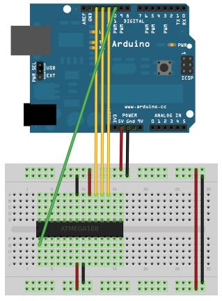 Schematic Arduino on Internal Oscillator Crystal as Clock Source