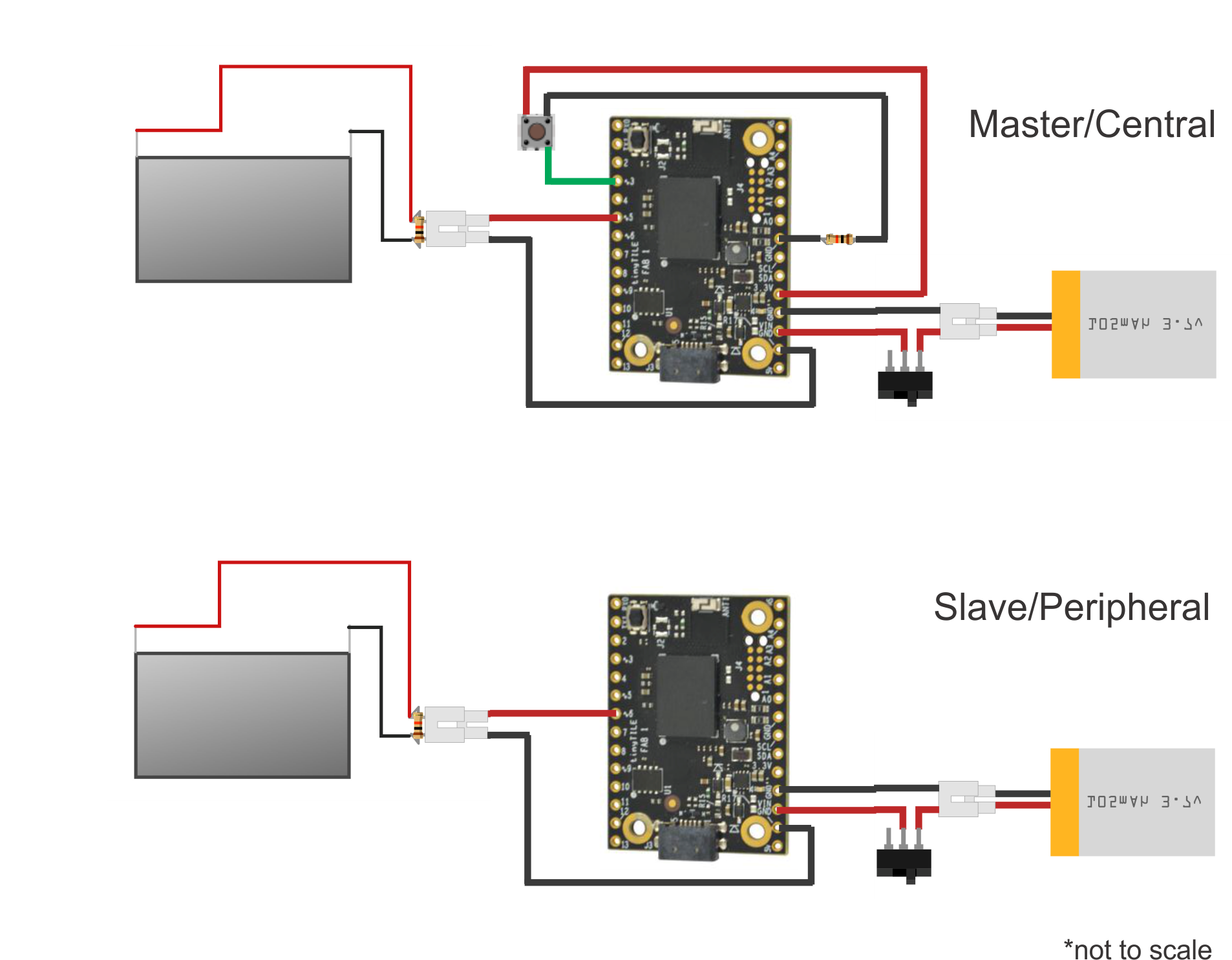 Schematic Arduino101 tinyTILE BLE Match-Making Sunglasses