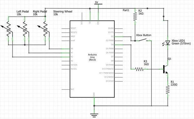 Schematic Controlling Robot Over Bluetooth Using Xbox Steering Wheel