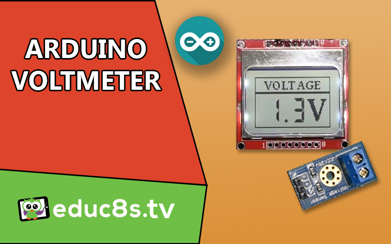 Schematic DIY Voltmeter with Arduino and a Nokia 5110 Display