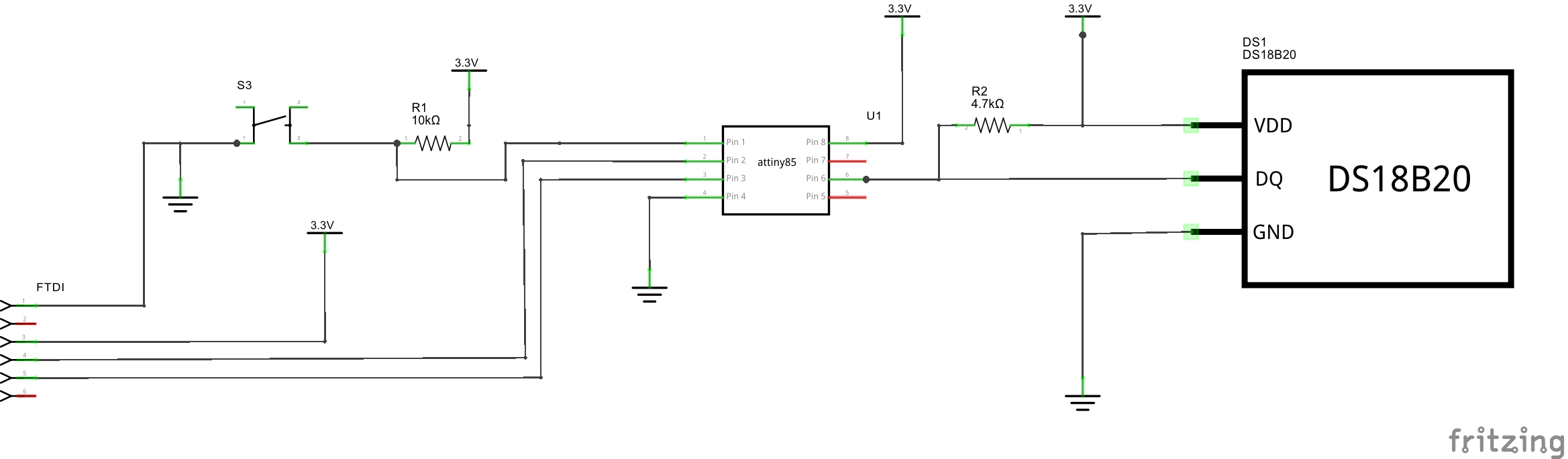 Schematic Easy Serial on the ATtiny