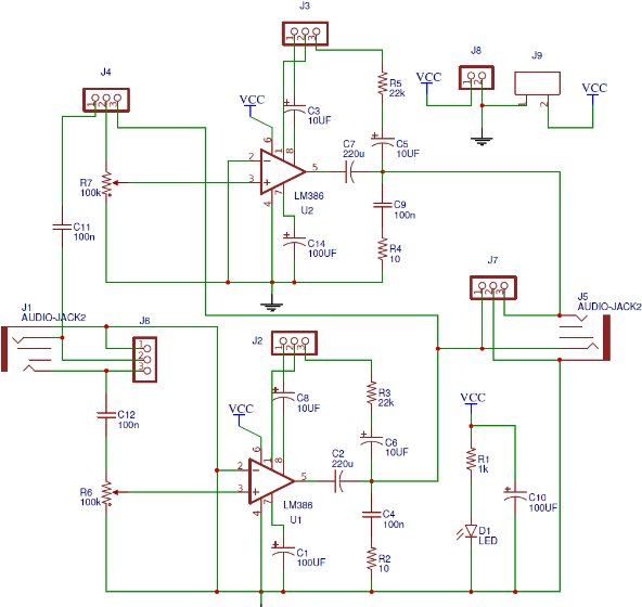Schematic Series connection audio amplifier having lower gain