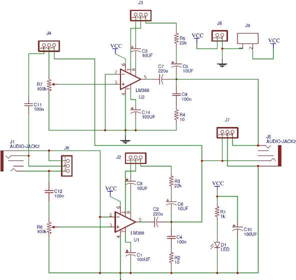 Schematic Series connection audio amplifier having lower gain