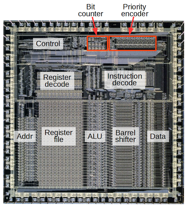 Reverse engineering the silicon in the ARM1 processor
