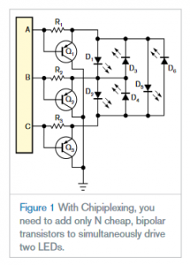 """""""Chipiplexing"""" efficiently drives multiple LEDs using few microcontroller ports"""