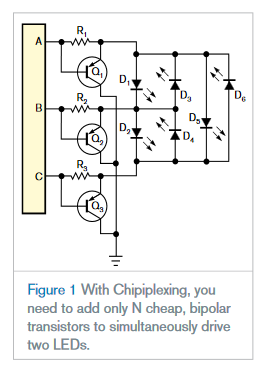 """Chipiplexing"" efficiently drives multiple LEDs using few microcontroller ports"