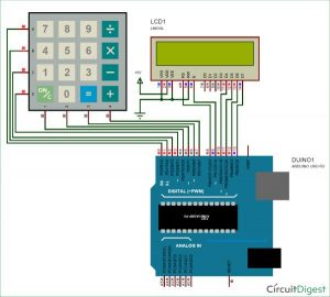 Arduino Calculator using 4x4 Keypad Schematic