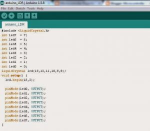 Open Your Arduino Software and create this code in here