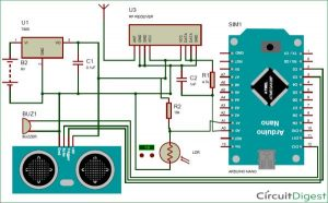 Smart Blind Stick using Arduino Schematic