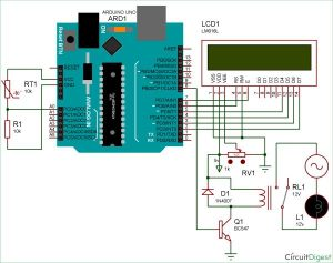 Temperature Controlled AC Home Appliances using Arduino and Thermistor Schematic