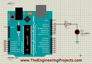 a simple circuit of Arduino LED
