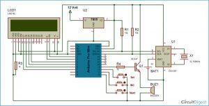 Arduino Based Digital Clock with Alarm schematic