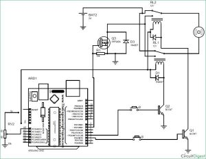 Arduino DC Motor Speed and Direction Control using Relays and MOSFET schematic