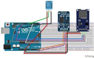 Arduino Data Logger (Log Temperature, Humidity, Time on SD Card and Computer) schematic