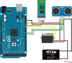Arduino Radar System using Processing Android App and Ultrasonic Sensor schematic