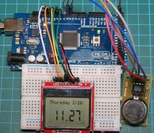 Arduino Real Time Clock with DS1302 and Nokia 5110 LCD Display