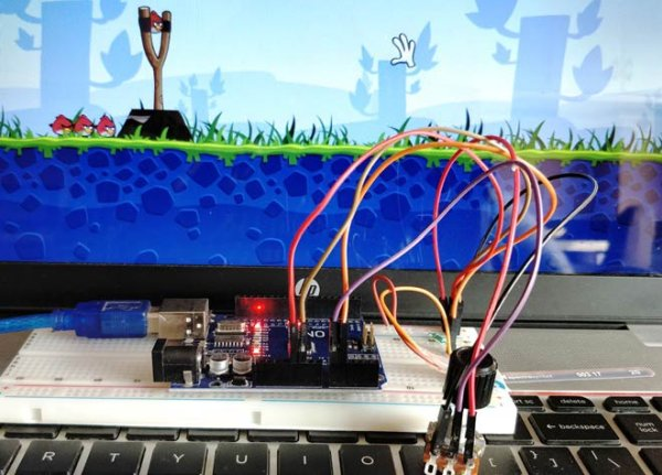 Arduino based Angry Bird Game Controller using Flex Sensor and Potentiometer