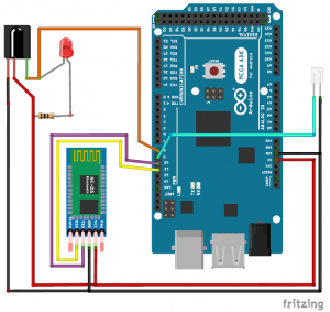 Cell Phone Controlled AC using Arduino and Bluetooth schematic