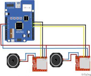 DJ Mixer featuring 4Duino-24 schematic